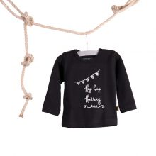 baby tshirt hip hip hurray zwart