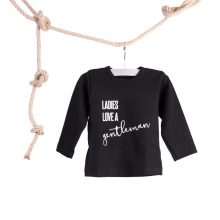 Baby T-shirt Ladies Love a Gentlemen Zwart