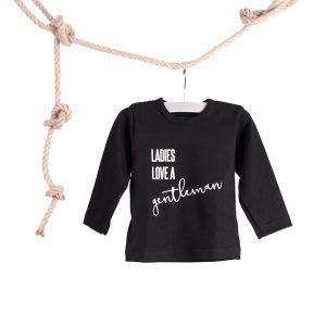 Baby T-shirt Ladies Love a Gentlemen Zwart