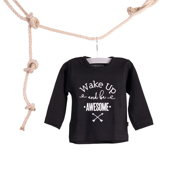 Baby T-shirt Wake Up and be Awesome Zwart