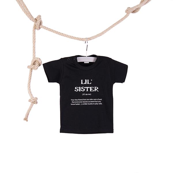Baby T-shirt Lil Sister zwart